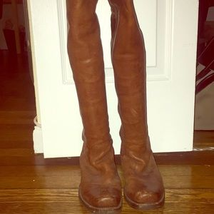 Frye brown leather knee high boots